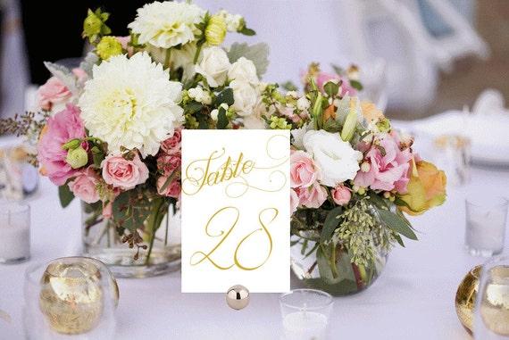 Elegant table numbers printable wedding white