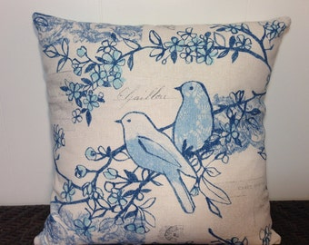 Indoor/Outdoor Decorative Pillow Cover Throw Pillow Blue Birds