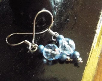Sterling Silver and Blue Lumier Czech glass bead earrings
