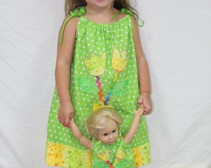 "Girls Pillowcase Dress, Toddler Pillowcase Dress,Appliqued Tulip Pillowcase Dress with matching 18"" Doll Dress,AG Doll Dress"
