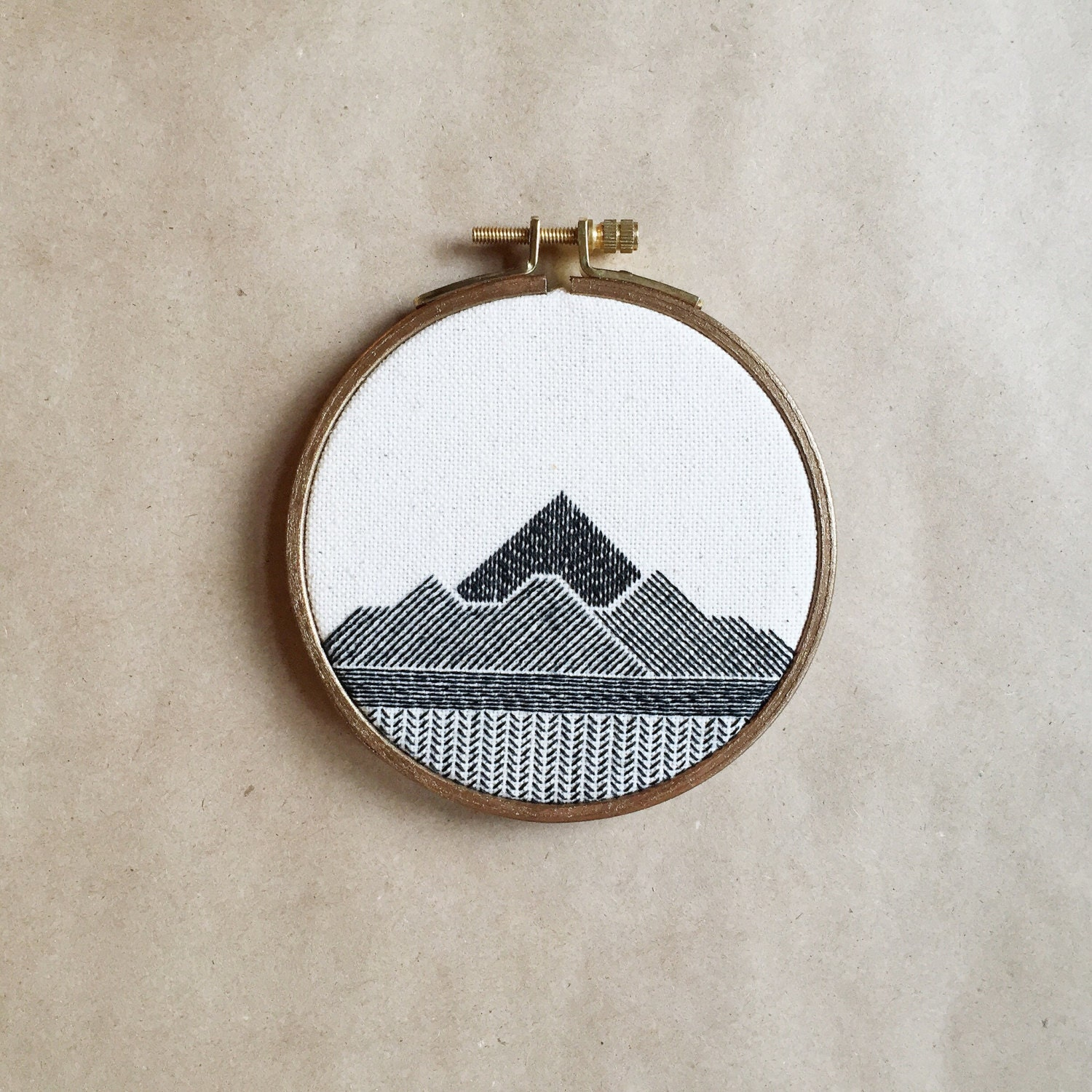 Hand stitched wall hanging hoop art embroidery by