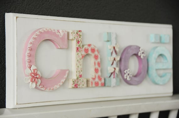 nameboard hand painted and decorated wooden letters for nurserykids room nursery wall