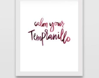 Wine Calligraphy Digital Print: Tempranillo