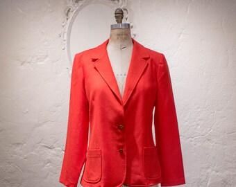 Vintage Bright Red Knit Blazer 70s 80s Tailored Red Jacket M Md Medium Lipstick Red Classic Blazer by Cricket Lane