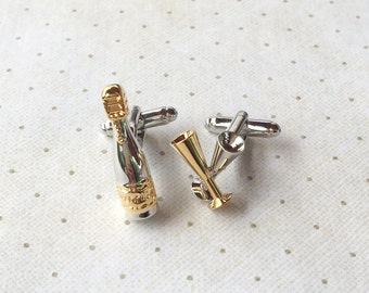 Champange and Flute Cufflinks Cuff Links in Two Toned