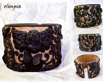 victorian bracelet gothic Empress Sissi Vienna black cameo bracelet Cuff antique jewelry goth Music fan treble clef Music notes polymer clay