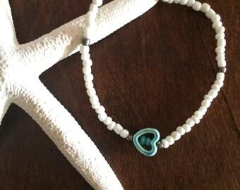Anklet Turquoise Ankle Bracelet Heart Anklet Summer Wedding Party Gifts under 30 White Beaded Stretch Boho Bracelet Friendship Graduation