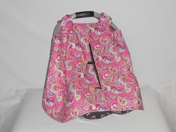 pink paisley print baby car seat cover canopy. Black Bedroom Furniture Sets. Home Design Ideas