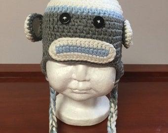 Original Sock monkey crochet hat blue