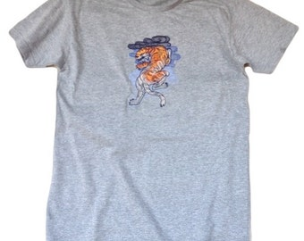 Embroidery, Machine embroidered Tattoo tiger on men's t-shirt,Machine Embroidery,Tees