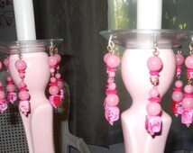 Mystic Rose, Upcycled Bobeches with Vintage Necklaces, Candle Wax Catchers