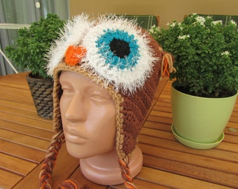Crochet owl hats for all ages, unisex hats, made to order in your size and color