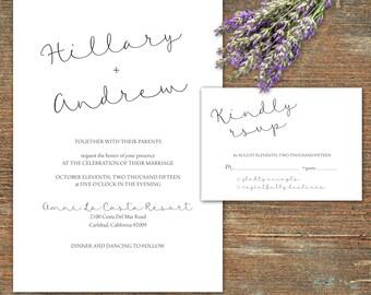 Simple wedding invitation and RSVP, printable, customizable