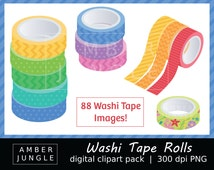 Washi Tape Roll Clipart - Instant Download! Washi Tape Clip Art Digital Graphics Colorful Images for DIY Planner Sticker Craft Scrapbook Kit