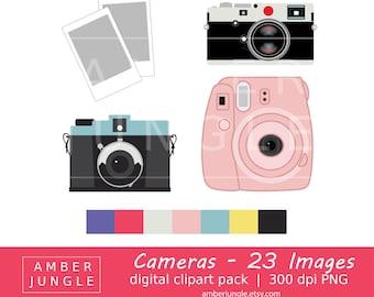 Camera Clipart - Instant Download! Camera Clip Art Photography Digital Camera Graphics Lomography Leica M Diana Instax Scrapbook Printables