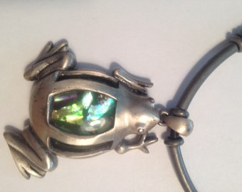 Vintage glass and pueter frog necklace with matching earrings.