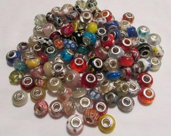 10pc Murano Glass European Bead Mix Lot - Beads fit European and Pandora Bracelets