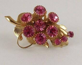 Vintage Leaf Brooch/Pin with Pink Rhinestones. Gold Tone.