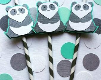 10 Panda Paper Straws- Panda Baby Shower, Panda Birthday Party- White and Grey Straws
