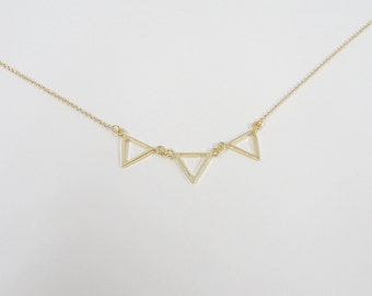 Triple Triangle Necklace - Minimalist Jewelry - Geometric Necklace