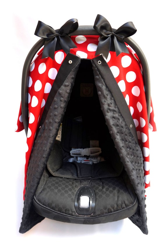 black and red polka dot minnie mouse inspired minky carseat. Black Bedroom Furniture Sets. Home Design Ideas