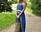 100% linen flax Maxi dress with pockets / linen dress / maxi dress / women's dress