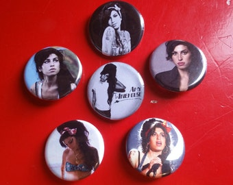 """Amy Winehouse set of 6 pin back buttons 1.25"""""""