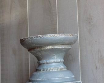 Vintage Candle Pillar Holder GRAY GOLD