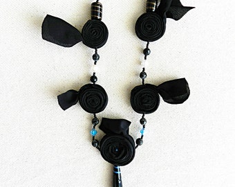 Black fabric Necklace Textile Necklace Fabric Necklace Black Necklace Lightweight. κολιέ  D65