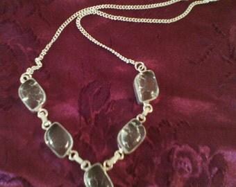 Stone necklace quartz 925 Sterling silver