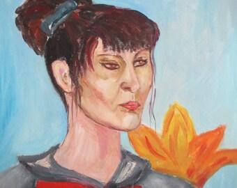 Fauvism oil painting sitting woman portrait