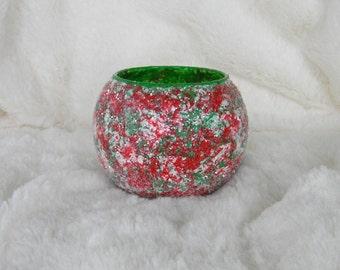 Christmas Votive Candle Holder, Tea Light Candle Holder, Holiday Decor, Christmas Decorations, Glitter Candle Holder, Red, Green, Home Decor