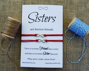 Sister Gift Sister Bracelet Big Sister Infinity Bracelet Sisters Forever Friends Gift for Sister Card Wishing Bracelet Make a Wish Bracelet
