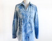 Hand Dyed Blouse - Eco Dyed Blouse - Indigo Blouse - Upcycled Blouse - Size M - Altered Blouse - Shibori Blouse - Long Sleeve Blouse - Denim