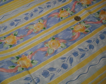 "WATERCOLOR FABRIC,46""x60""wide,Yellow/Blue,vintage,home decor fabric"