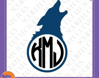 Wolf Monogram Frame SVG DXF EPS Cutting files