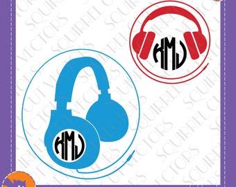 Headphones Monogram Frame SVG DXF EPS Cutting files