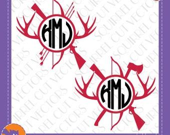 Hunting / Woodsman Monogram Frame SVG DXF EPS Cutting files