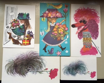 Five Gordon Fraser Girl Dog Prints/Cards