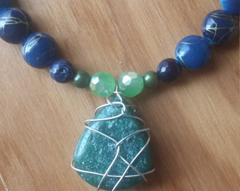 Green and Blue wire wrapped necklace