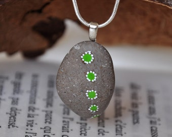 Beach pebble necklace Hand painted pebble pendant Pebble pendant necklace