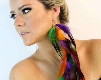 Beautiful colorful feather earring, long feather earring, orange earring, purple earring, green earring, hippie earring, gypsy earring