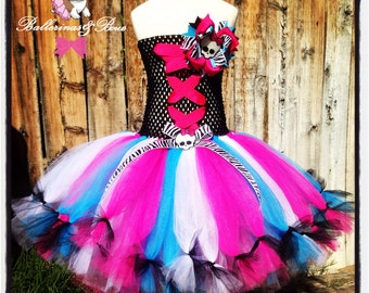 Monster High tutu dress with hairbow- Monster high-Monster high dress costume
