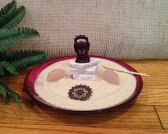 BUDDHA ON STONES Miniature Zen Garden