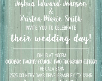Rustic Printable Wedding Invitation & RSVP