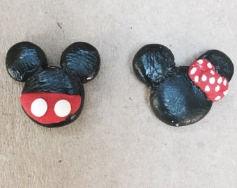 Mickey and Minnie Mouse polymer clay earring studs