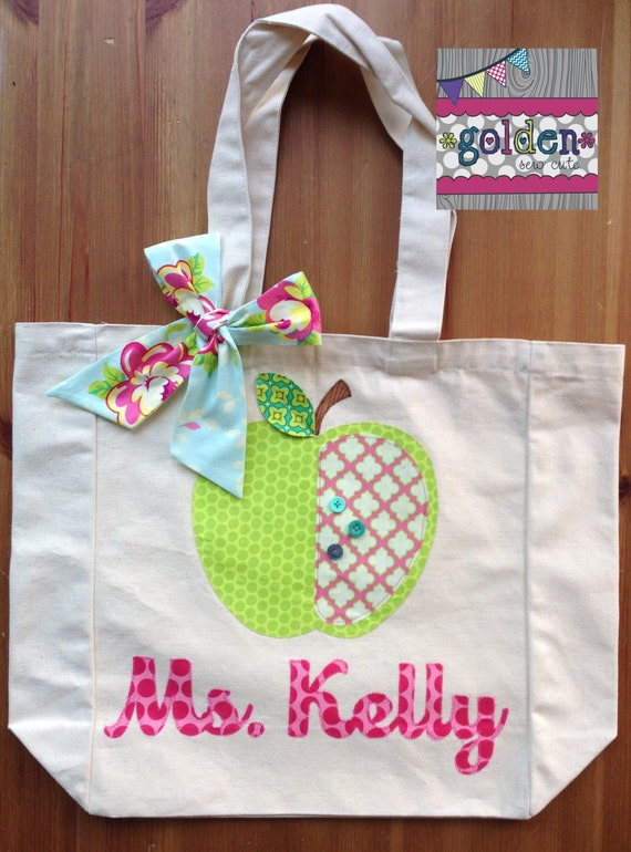 Personalized Name and Apple Teacher Tote Bag with Fabric Bow, Pink, Aqua, Lime