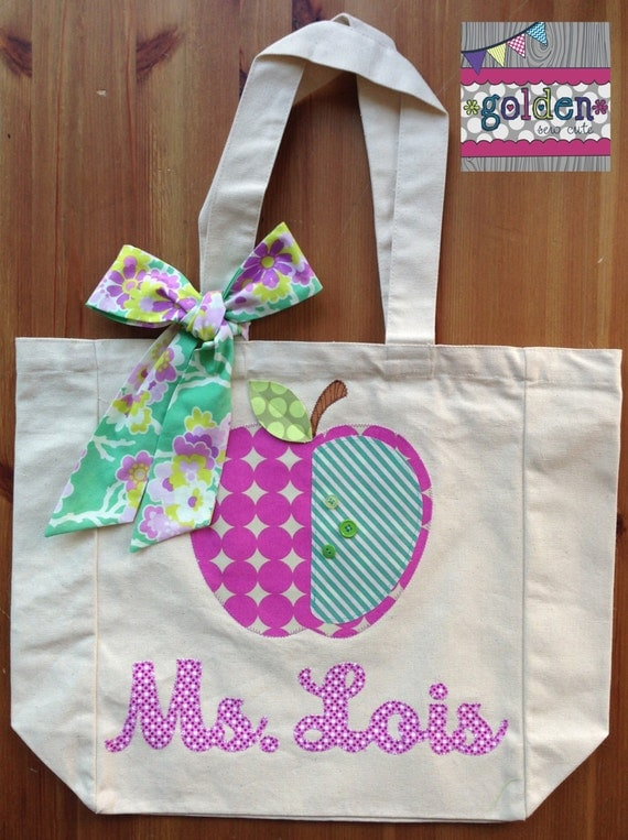 Personalized Name and Apple Teacher Tote Bag with Fabric Bow, Mint and Orchid