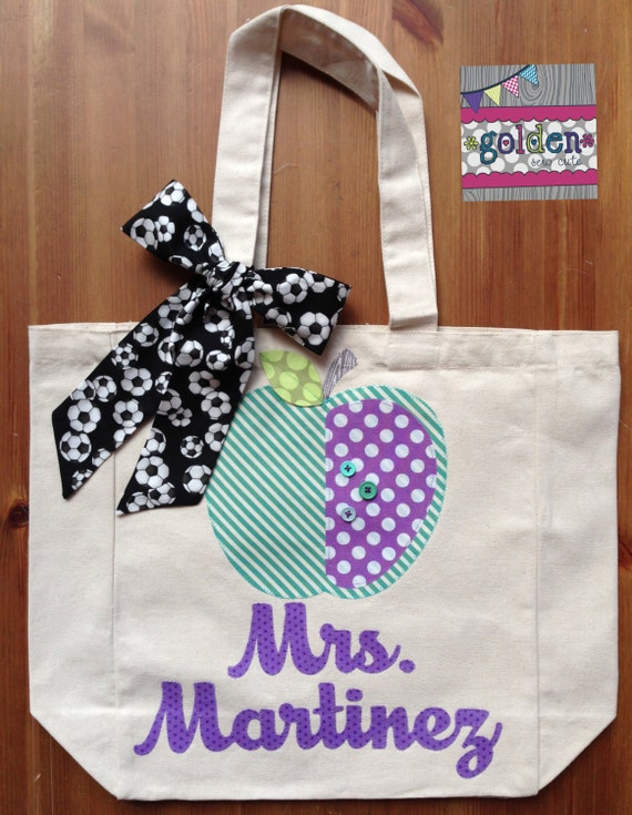 Personalized Name and Apple Teacher Tote Bag with Fabric Bow, Soccer