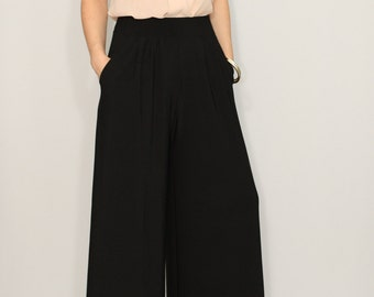 Wide leg pants Black pants with pockets Women trousers